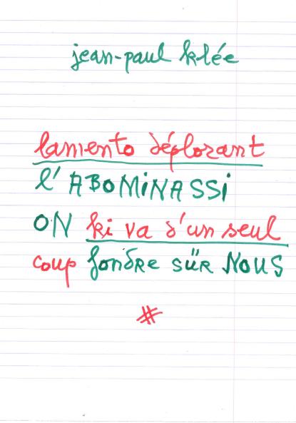 Jean-Paul Klée  un poème pour Florence Trocmé