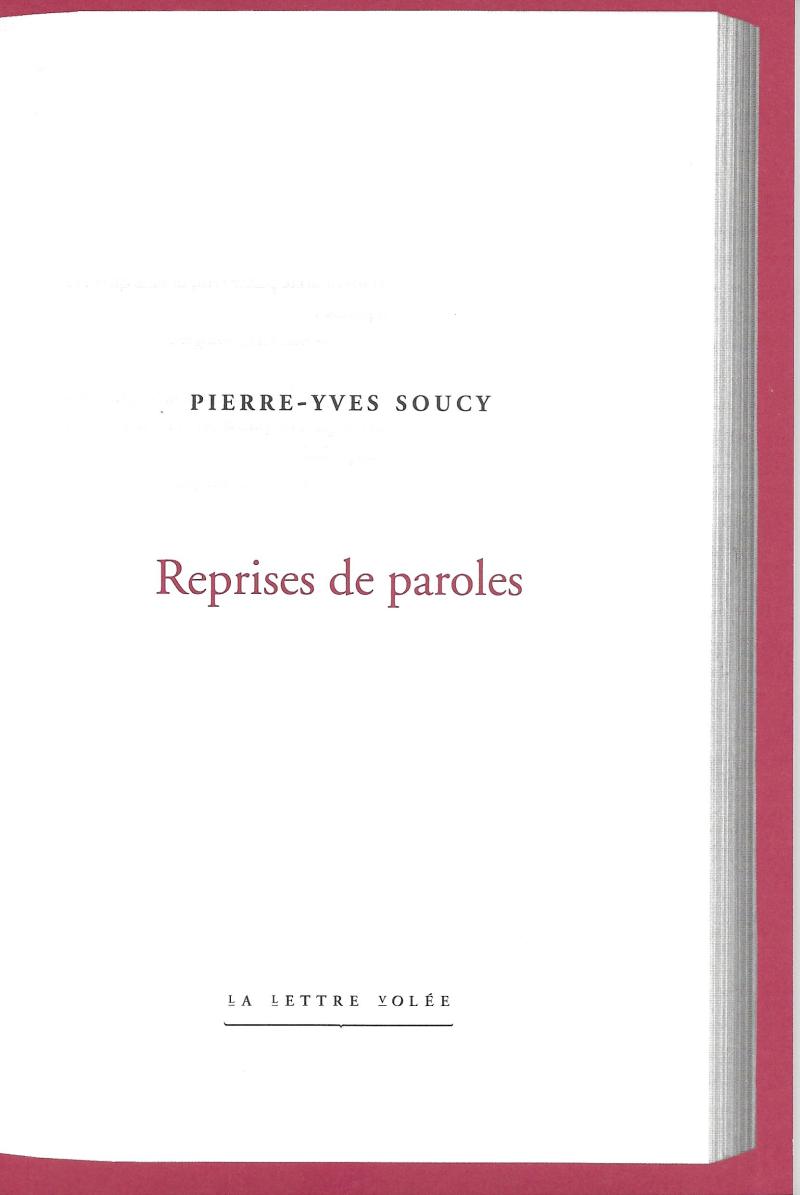 Pierre-Yves Soucy  Reprises de paroles