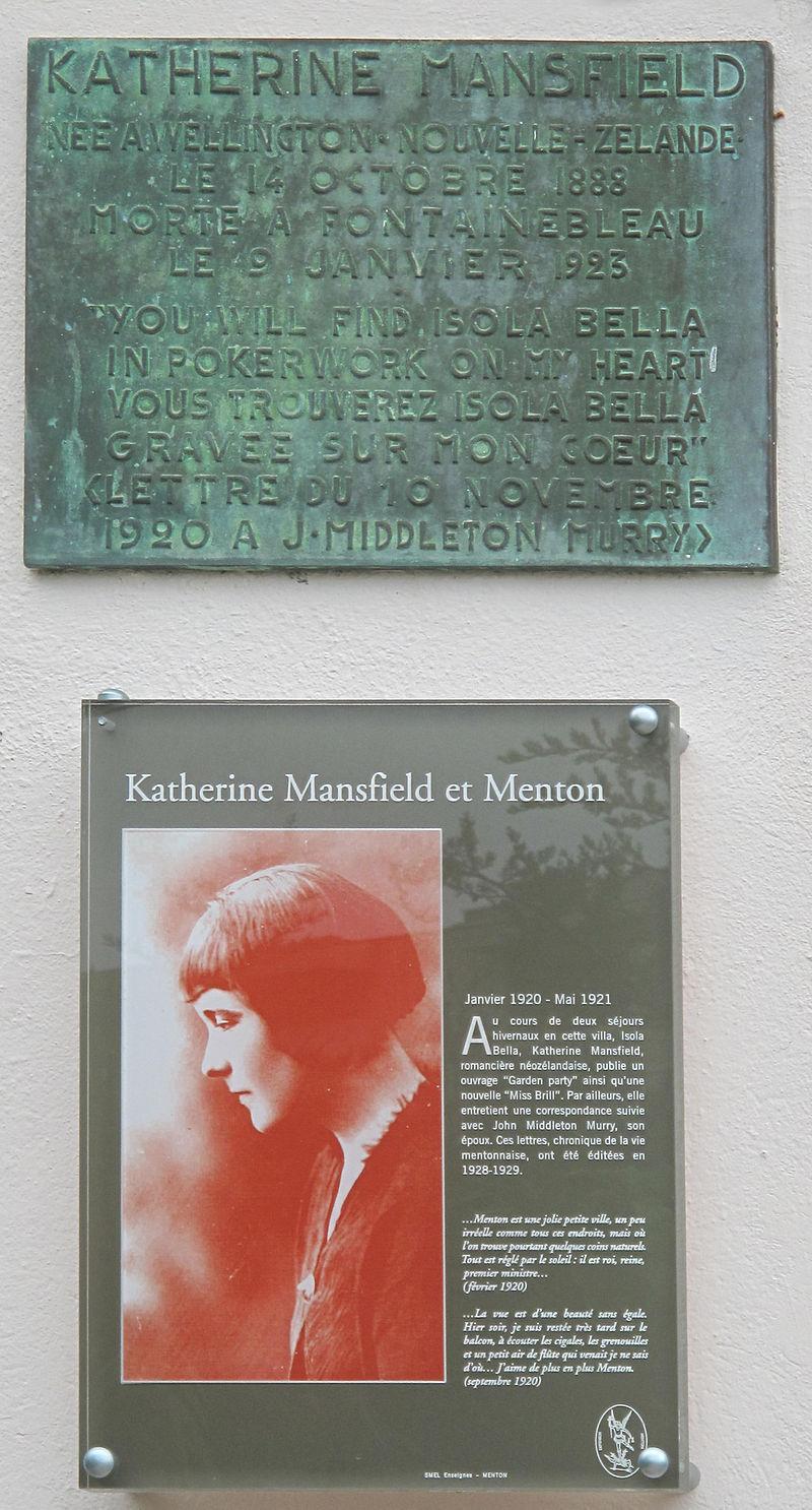 Plaque_Katherine_Mansfield_(Menton)